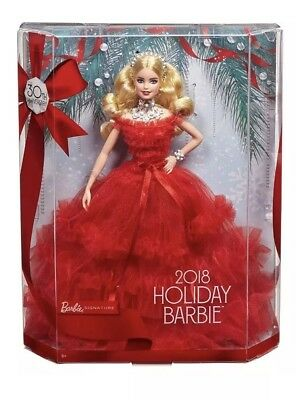 Barbie 2018 Holiday Collector Signature Christmas Doll with Stand Blonde NEW Toy