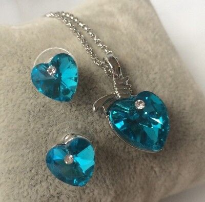 Silver Plated Blue Topaz Crystal  Heart Necklace & Earrings Set
