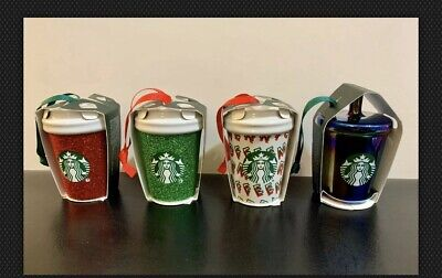 Starbucks 2019 Coffee Christmas Ornaments Holiday Set 4 Ceramic Glitter Tumbler