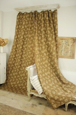 Pair curtains Antique French drapes woven jacquard with fringe trim 1900