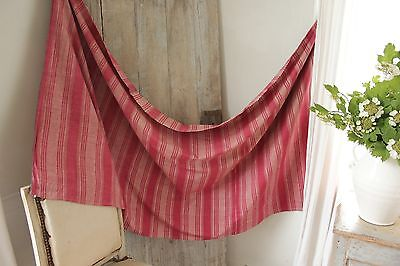 Antique French striped furnishing fabric early 19th century red pink material
