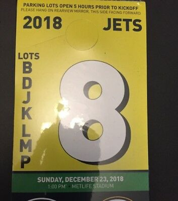 1 New York JETS vs Green Bay PACKERS 12/23 YELLOW LOT PARKING PASS Football NFL