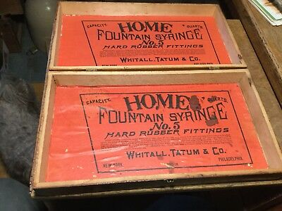 Vintage HOME FOUNTAIN SYRINGE No. 5 Box Whitall, Tatum & Co. NY. Boston Phila.