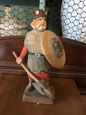 Henning Hand Carved In Norway Wood Carving 6 Inch Viking With Shield & Ax