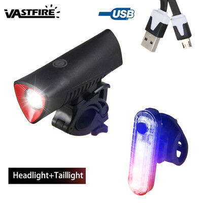 USB Rechargeable 4 Mode Cycling Head Lamp Bike 700LM L3 LED Front+Rear Light Set