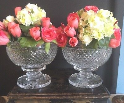 Pair Of Vintage Waterford Master Cut Collection Crystal Vases