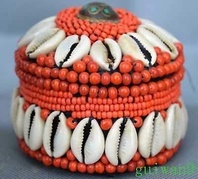 Collectable Tibetan Totem Carve Red Coral Bead Usable Tibet Ancient Jewelry Box