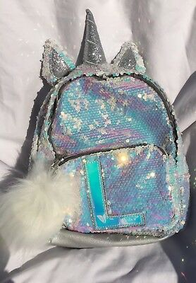 """Justice Girls Initial """"L""""Mini Backpack Unicorn Reversible Flip Sequins Silver"""