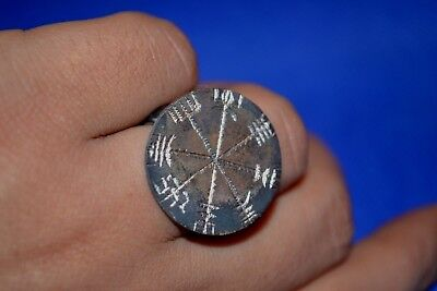 LOW OUTBID !! Ancient Viking SILVER ring inscribed Viking symbols amazing