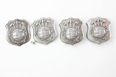 4 x Vintage .925 STERLING SILVER Armorial Shield Shaped Badges (137g)
