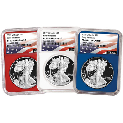 2019-W Proof $1 American Silver Eagle 3pc. Set NGC PF69UC Flag ER Label Red Whit