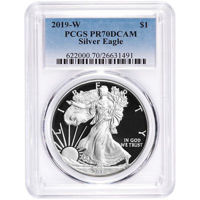 2019-W Proof $1 American Silver Eagle PCGS PR70DCAM Blue Label