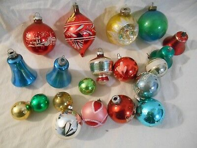 Vintage lot of 20 mixed christmas tree glass ornaments indent more nr
