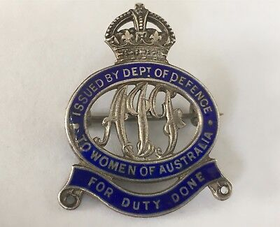 WWI Stg Silver Badge to Women of Australia for Duty Done