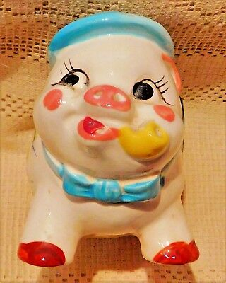 VINTAGE 1950's HAND PAINTED PORCELAIN ADORABLE PIG W/ HAT PLANTER - JAPAN