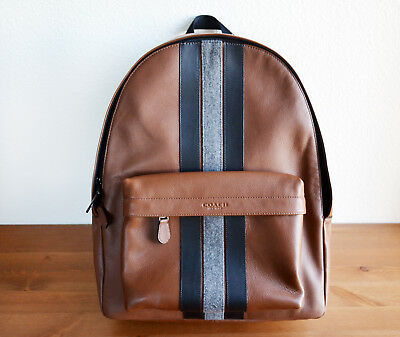 f13a65d8d9ab NWT COACH F31347 CHARLES BACKPACK VARSITY STRIPE LEATHER saddle brown  550