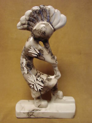 """13"""" Native American Indian Pottery Horse Hair Etched Kokopelli Sculpture PT0224"""