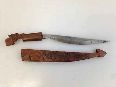 Philippines WWII Handmade Jungle Survival Knife Gun Handle Carved Wood Sheath