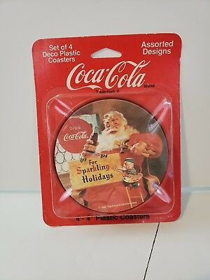 Vintage COCA-COLA PLASTIC SANTA COASTERS 1990's NEVER OPENED SET OF 4 NEW NOS