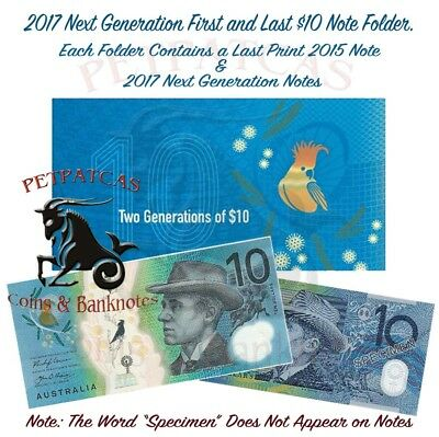 2017 RBA Two Generation of $10 Polymer Banknote Folder - Uncirculated #s