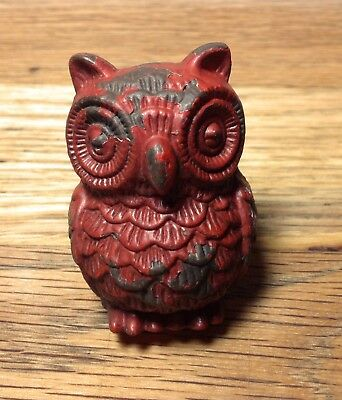 Hoot Owl, One Red Iron Brown Accent Chippy French Country Knobs Pulls