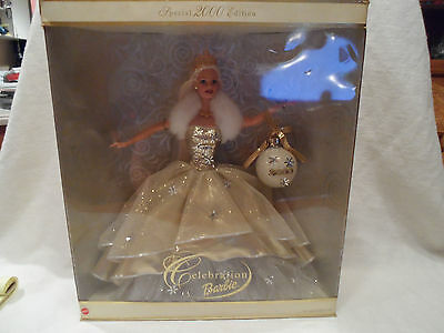 Special Edition 2000 Celebration Holiday Sparkly Gold Barbie