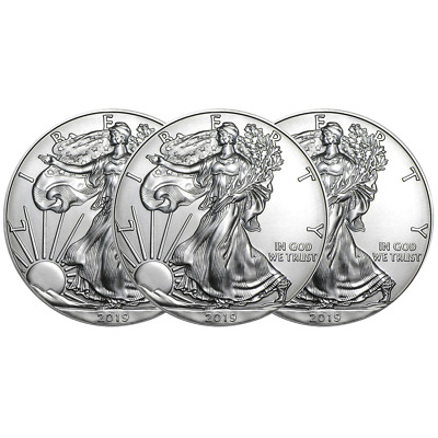 Lot of 3 - 2019 $1 American Silver Eagle 1 oz Brilliant Uncirculated