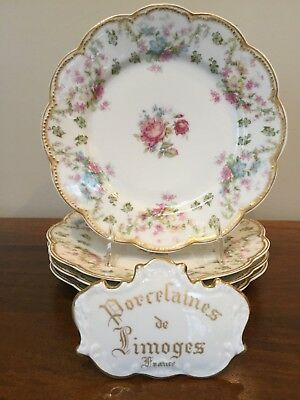 Haviland Limoges Schleiger 72 Double Gold Floral Luncheon Plate ~ Set of 4 (A)