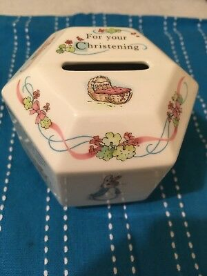 Wedgwood Peter Rabbit Beatrix Potter Christening Money Box Hexagon Vintage***