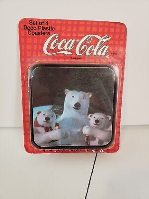 Vintage COCA-COLA POLAR BEAR COASTERS 1994 NEVER USED SET OF 4  Plastic NEW NOS