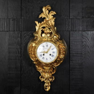 ANTIQUE FRENCH GILT BRONZE CARTEL WALL CLOCK by SAMUEL MARTI FULLY RESTORED 1890
