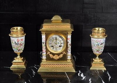 Porcelain And Ormolu Classical Clock Set - English Garden - Antique French