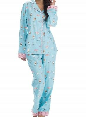 New Womens Small Coffee   Donuts Munki Munki 2 Pc Flannel Pajamas Set Blue  Pink 3ce5ceca5