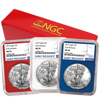 2019 $1 American Silver Eagle 3 pc. Set NGC MS70 Blue ER Label Red White Blue