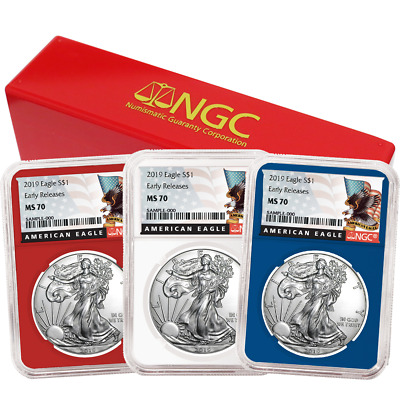 2019 $1 American Silver Eagle 3 pc. Set NGC MS70 Black ER Label Red White Blue