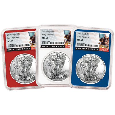 2019 $1 American Silver Eagle 3 pc. Set NGC MS69 Black ER Label Red White Blue