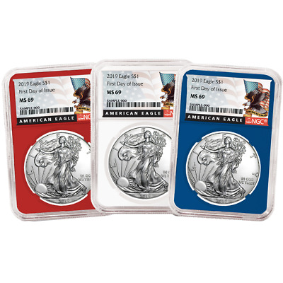 2019 $1 American Silver Eagle 3 pc. Set NGC MS69 FDI Black Label Red White Blue