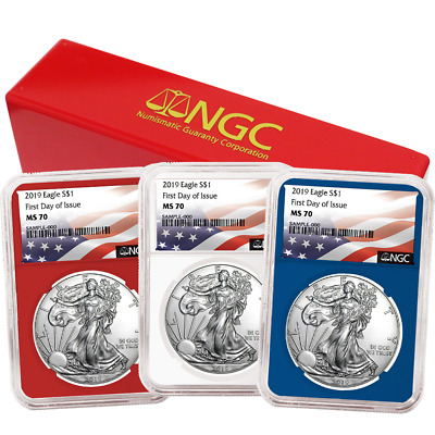 2019 $1 American Silver Eagle 3 pc. Set NGC MS70 FDI Flag Label Red White Blue