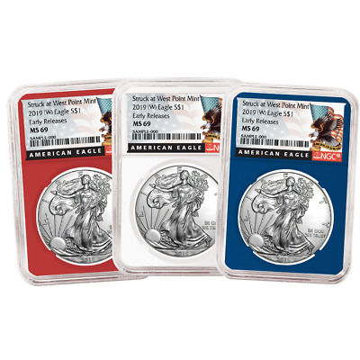 2019 (W) $1 American Silver Eagle 3 pc. Set NGC MS69 Black ER Label Red White Bl