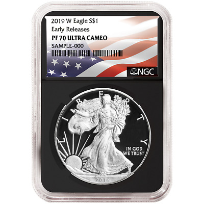 2019-W Proof $1 American Silver Eagle NGC PF70UC Flag ER Label Retro Core