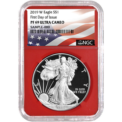 2019-W Proof $1 American Silver Eagle NGC PF69UC FDI Flag Label Red Core