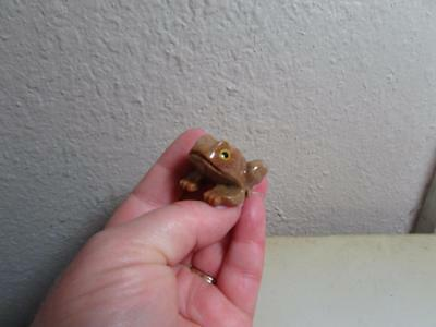 Frog, Hand carved Stone from the Andes of Peru Rich Colored Miniature Stone Frog