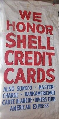"Vintage SHELL Gas Station Cloth Banner Sign w/ Sunoco Reference~Measures 84""X43"""