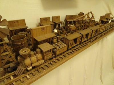 Antique Handmade Wooden O Scale Train Set Town Village Steam Engine Buildings