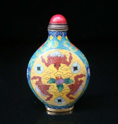 Collectibles 100% Handmade Painting Brass Cloisonne Enamel Snuff Bottles 052
