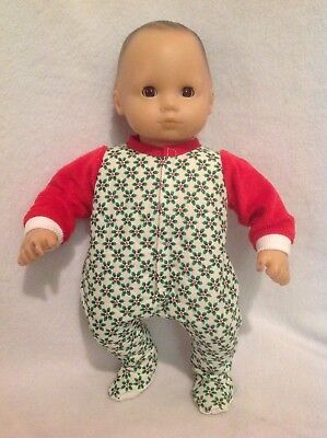 """15"""" Bitty Baby Christmas Red Green pjs sleeper pajamas Girl/boy Doll Clothes"""