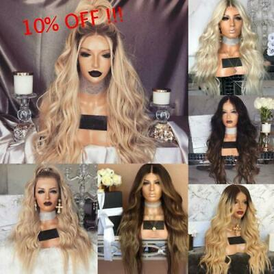 Women Cool Blonde Long Full Wavy Front Lace Wig Curly Natural Hair Wigs Cosplay