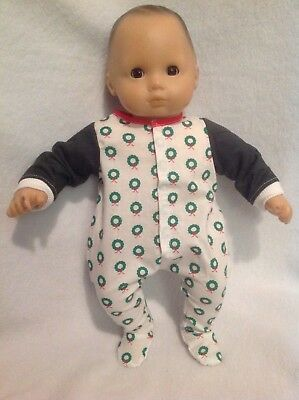 """15"""" Bitty Baby Christmas wreath pjs sleeper pajamas Girl/boy Doll Clothes outfit"""