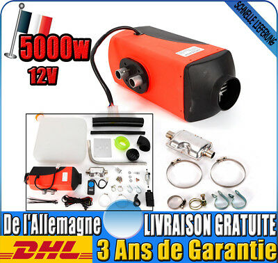 5KW 12V Voiture Chauffage Air Diesel Heater +Silencieux +RC Switch+Tuyaux Vent