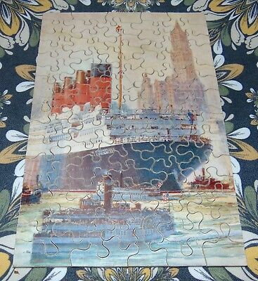 RARE ANTIQUE C1930 CUNARD LINE Wooden Jigsaw Puzzle R.M.S. AQUITANIA Chad Valley